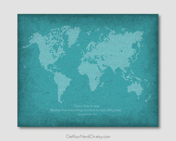 Binary Code Poster Map Of The World Computer Science Art Etsy