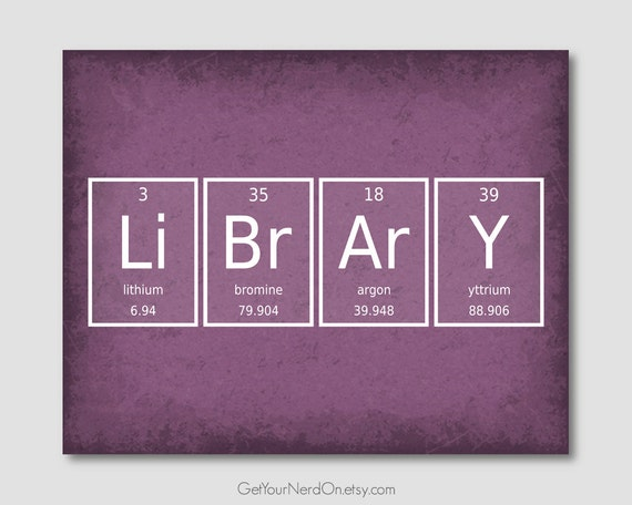 Library Wall Art Chemistry Elements Book Nerd Posters Gifts | Etsy