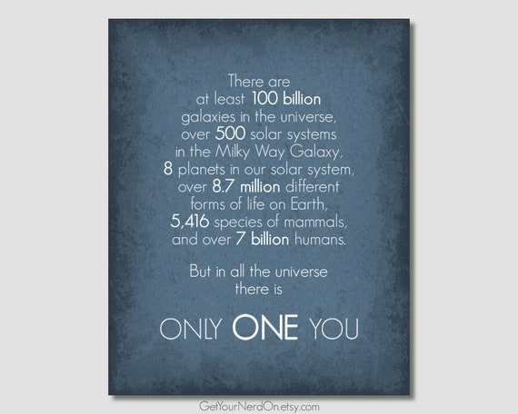 Inspirational Quote Anniversary Gift Only One You Nerd Love Quotes Space  Nursery Decor Nerdy Wedding Gift Outer Space Wall Art