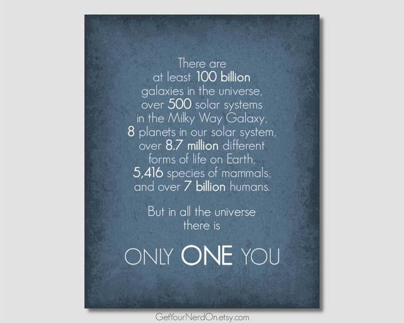 Inspirational Quote Anniversary Gift Only One You Nerd Love Etsy