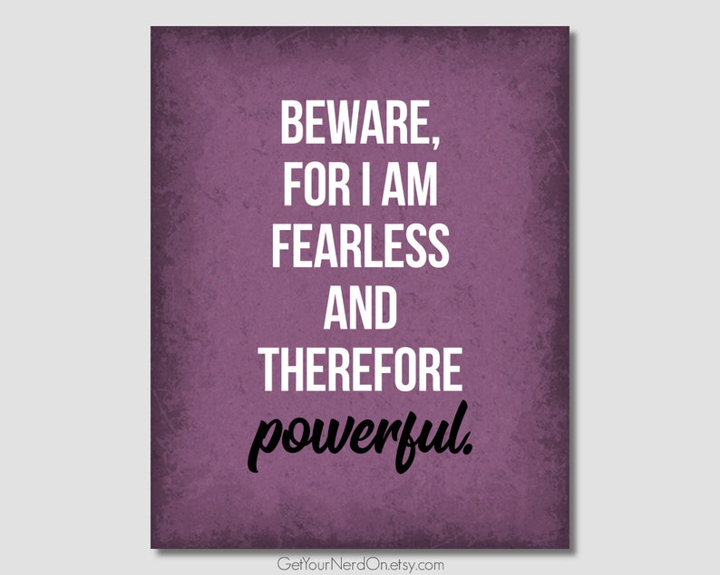 Inspirational Quotes Beware For I Am Fearless Literary Wall Etsy