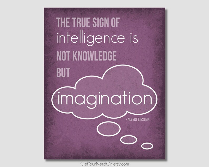Inspirational Quote Imagination Poster The True Sign Of Etsy