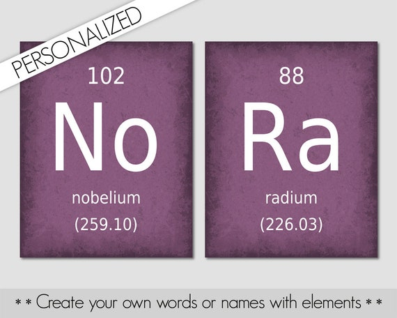 Custom Name Sign Chemistry Elements Science Geek Gifts Etsy