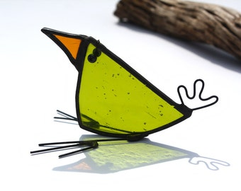 BABY BIRD - Little Sitting Stained Glass Bird - Unique Gift - Cute Character - Window, Mantle Ornament