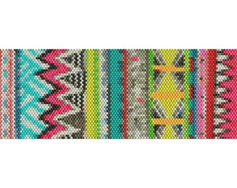 Abstract Art Peyote Cuff Beaded Bracelet Pattern