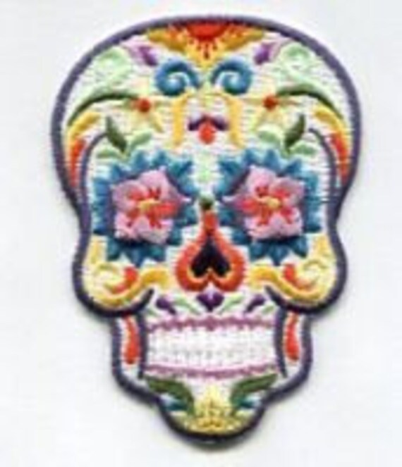 Day Of The Dead Folk Art Sugar Skull Iron On Patch Lots