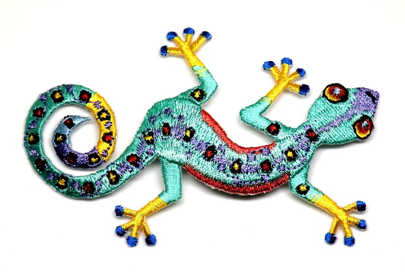 Gecko Lizard SMALL Embroidered Iron On Patches Southwestern PR