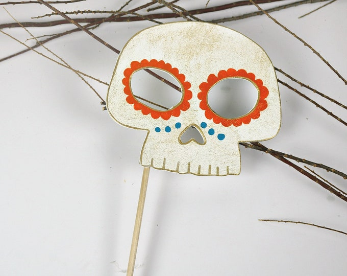 Featured listing image: Mexican Day of the Dead Wooden Skull Photo Booth Prop, Halloween Costume, Day of the Dead Decorations