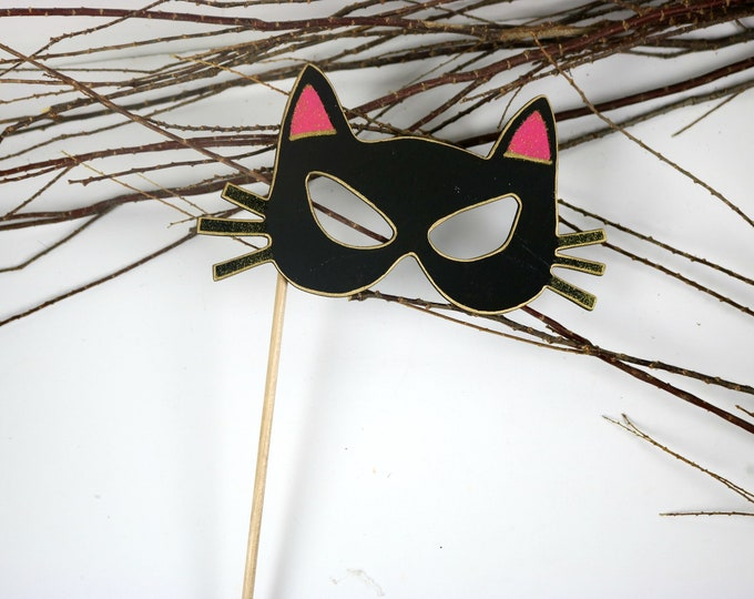 Featured listing image: Black Cat Mask Halloween Party Props, Halloween Photo Booth Props, Party Mask,  Black Cat Signs, Black Cat Costume,  Halloween Mask