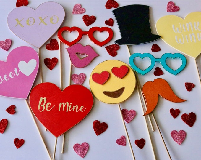 Featured listing image: Set Of 10 Wooden Valentines Photo Booth Props, Valentines Party Props, valentines day Party supplies, Photo Booth Party Props