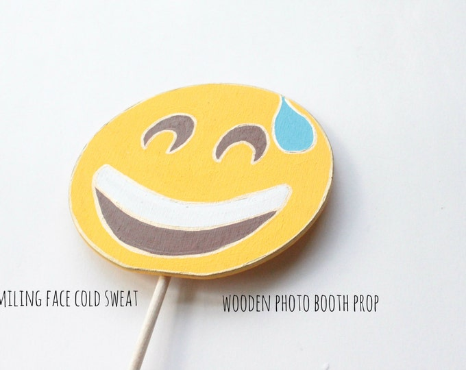 Featured listing image: Smiling Face with Cold Sweat Emoji, Emoji Party Decorations, Emoji Photo Booth Props, Booth Display, Photo Booth Props Birthday, Emoji