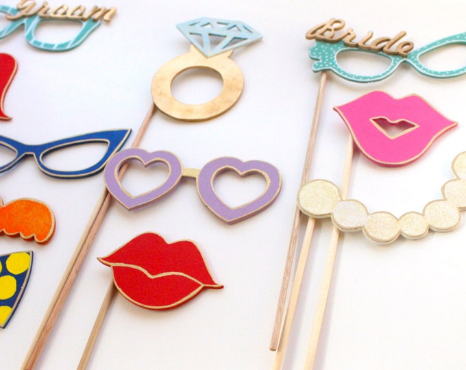 Featured listing image: Photo Booth Wedding props 12 Piece photo Props Photo Booth Props Wedding props Party Decoration Kit Funny Décor