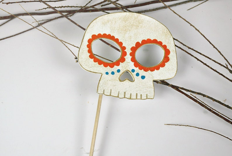 Mexican Day Of The Dead Wooden Skull Photo Booth Prop Halloween Costume Day Of The Dead Decorations