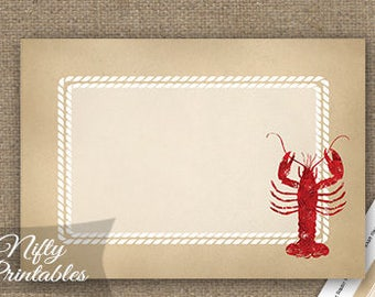 Lobster Labels - Lobster Boil Bake Food Labels - Vintage Nautical Party Decor Tags - Printable Seafood Dinner Lobster Favors - LOB1
