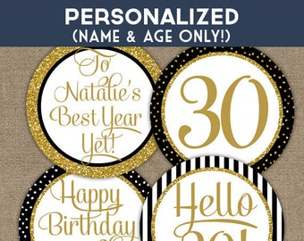 Personalized Birthday Cupcake Toppers - Black & Gold Glitter Printable Birthday Party Toppers, Favor Tags or Stickers - BGL