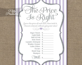 38db8c8a94c6 Price Is Right Bridal Shower Game - Lilac   Silver The Price Is Right Game  - Instant Download - Printable Purple Bridal Shower Games LGL