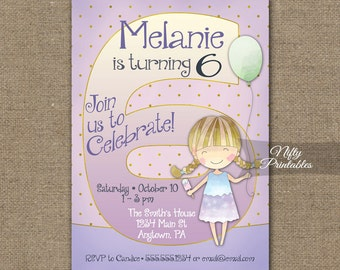 Girls 6th Birthday Invitations