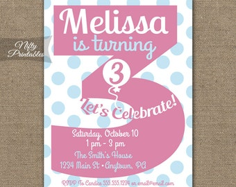 3rd Birthday Invitations Printable Third Invitation Girls Party Pink Three Year Old Invites 3 Years PGBD