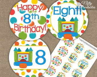 Bounce House 8th Birthday Cupcake Toppers