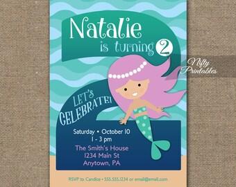 Two year old invites etsy mermaid invitation 2nd birthday invitations girls 2nd birthday party invites printable two year old mermaid invitation mer1 filmwisefo
