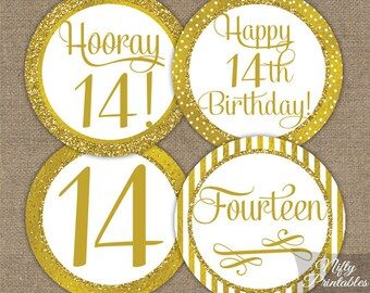 14th Birthday Cupcake Toppers