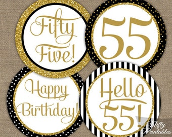 55th Birthday Cupcake Toppers