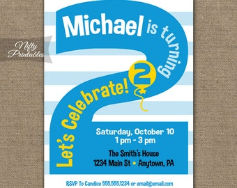 2nd Birthday Invitations Printable Second Invitation Party Blue Two Year Old Invites Boys 2 Years BLS