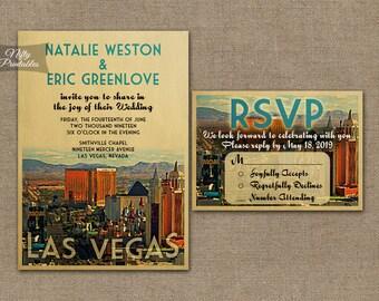 Las Vegas Hochzeitseinladung   Druckbare Vintage Vegas Hochzeit Einladungen    Retro Hochzeit Set Oder Solo VTW