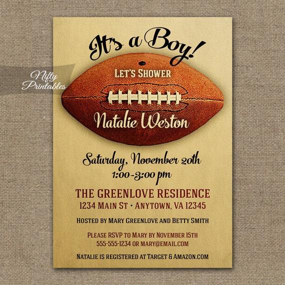 Football Baby Shower Invitations Printable Vintage Football Etsy