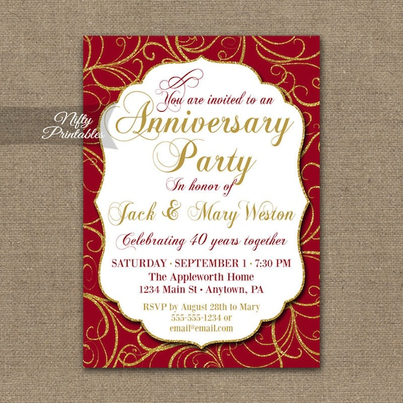 40th anniversary invitations printable 40th wedding etsy