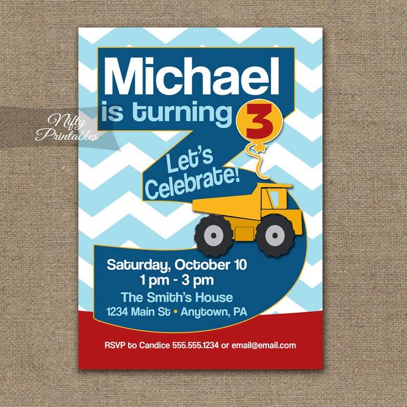 3rd Birthday Invitation Construction Invitations