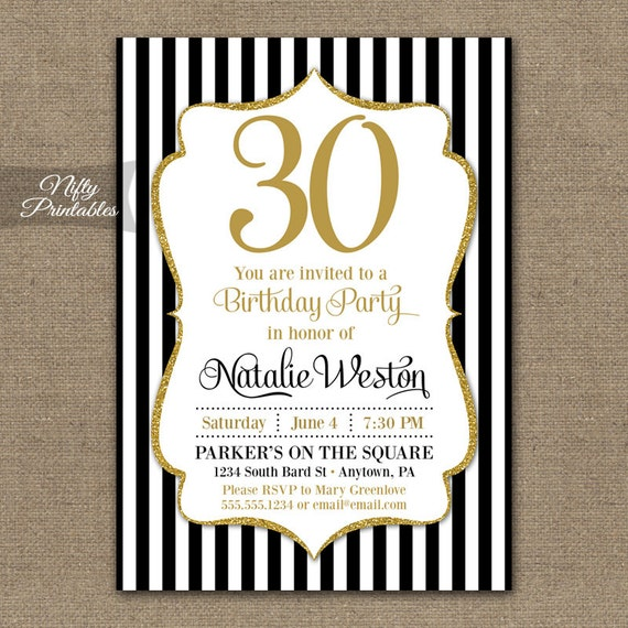 30th Birthday Invitations Black Gold Glitter 20th