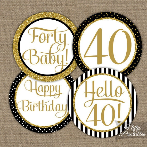 Black Gold 40th Birthday Cupcake Toppers Bday Party