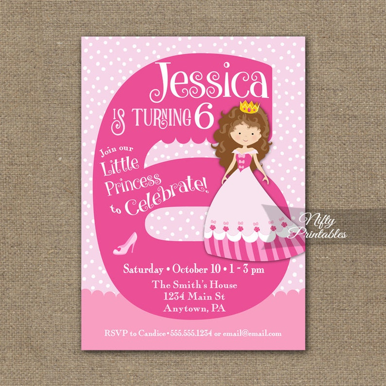 6th Birthday Invitations Girl Invitation Princess