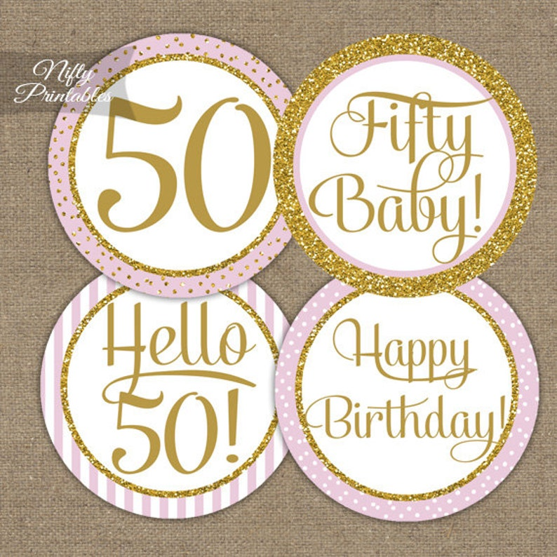 50th Birthday Cupcake Toppers Party