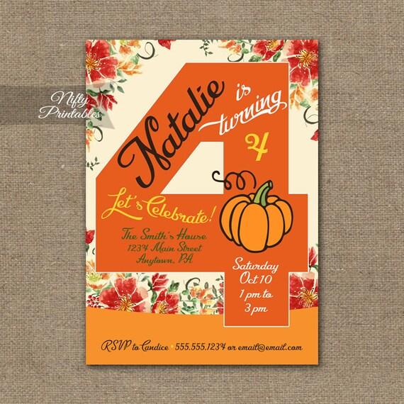 pumpkin birthday invitation 4th birthday invitations etsy