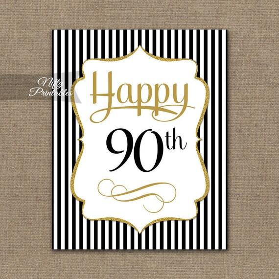 90th Birthday Sign Elegant Gold Black Printable
