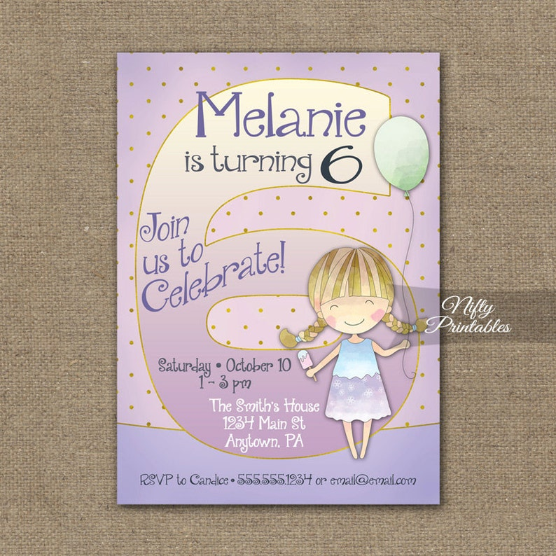 Girls 6th Birthday Invitations Invitation