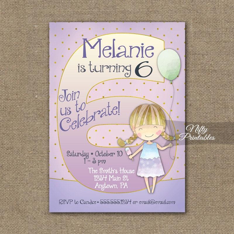 Girls 6th Birthday Invitations Invitation