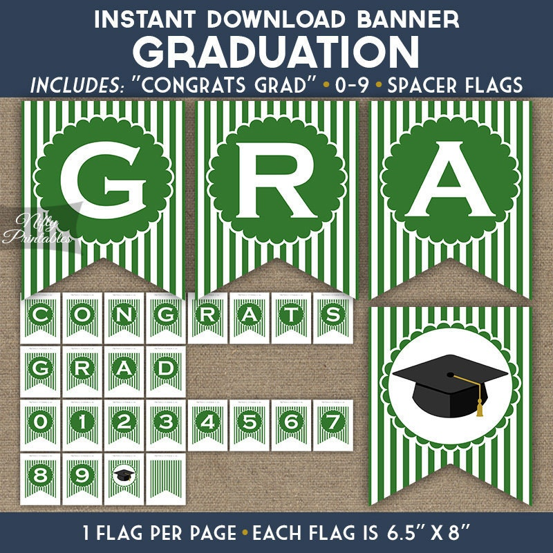 graduation banner green white stripes printable congrats etsy