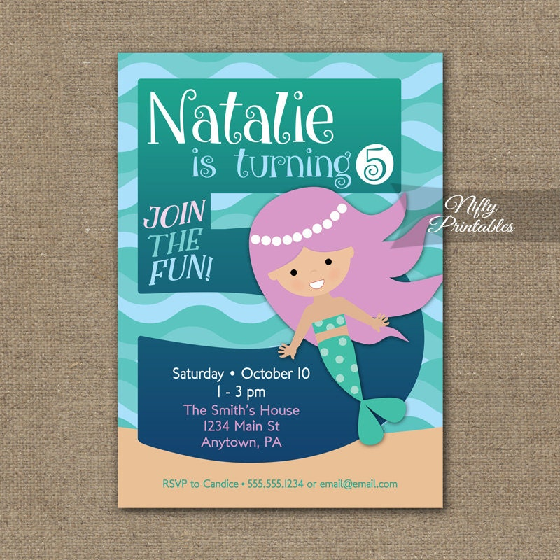 Mermaid Birthday Invitation 5th Invitations Girls