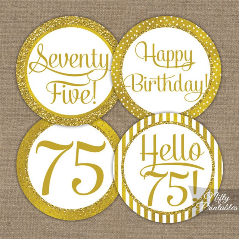 75th Birthday Cupcake Toppers Gold