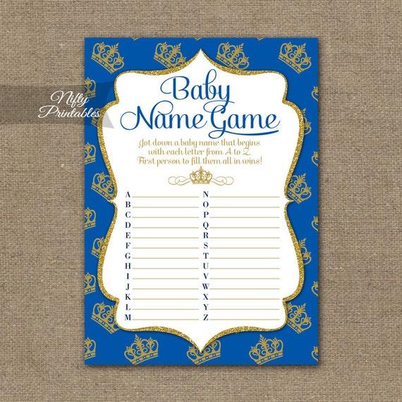 Baby Name Game Royal Baby Shower Game Blue Gold Royal Etsy