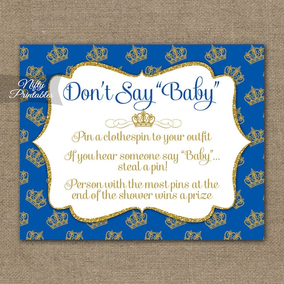 Don't Say Baby Shower Game Royal Baby Shower Games