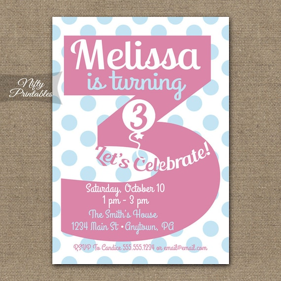3rd birthday invitations printable third birthday invitation etsy