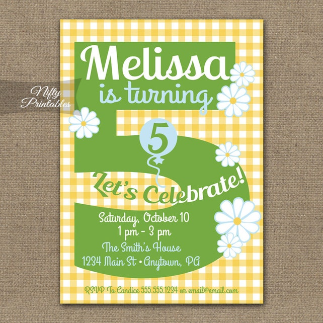 Daisy 5th Birthday Invitations Printable Fifth Girls Spring Summer 5 Years Five Year Old Invites