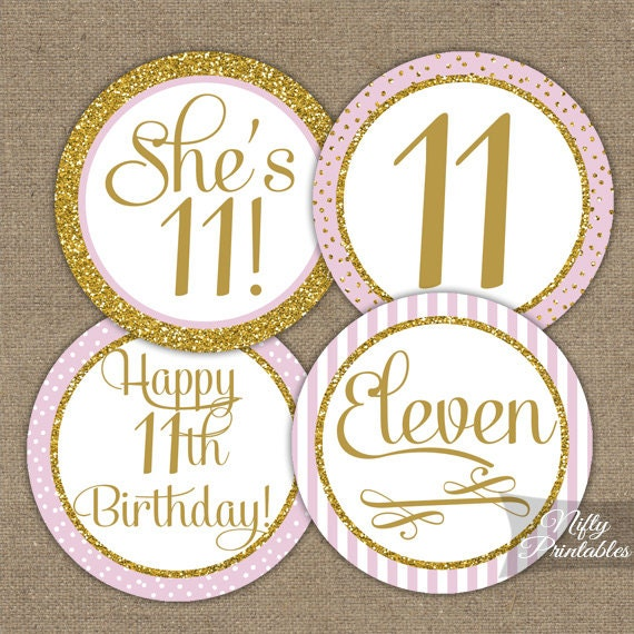 11th Birthday Cupcake Toppers Eleventh Party Pink