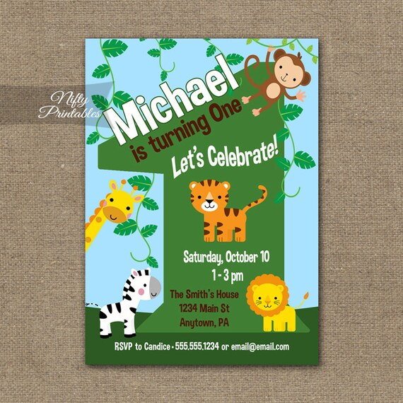 1st Birthday Invitations Safari Invitation