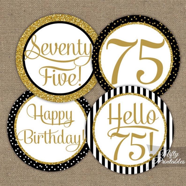 75th Birthday Cupcake Toppers Black Gold Party Circles