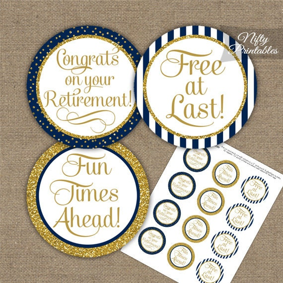 Retirement Cupcake Toppers Navy Gold Glitter Printable Etsy
